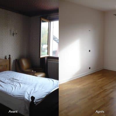 Rénovation de chambre complet, peintures, papiers peint et parquet