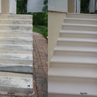 Ragréage d'escaliers, peinture