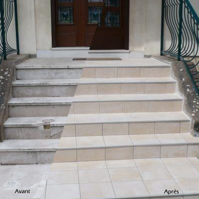Rénovation d'escaliers exterieur en carrelage anti-dérapant