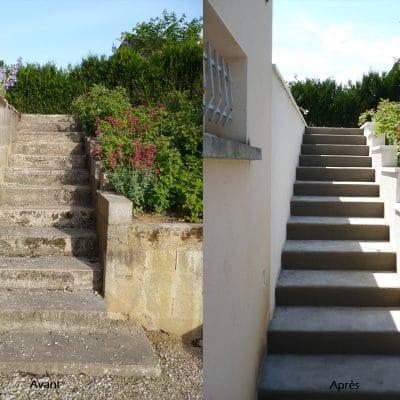 Rénovation d'escaliers et de muret