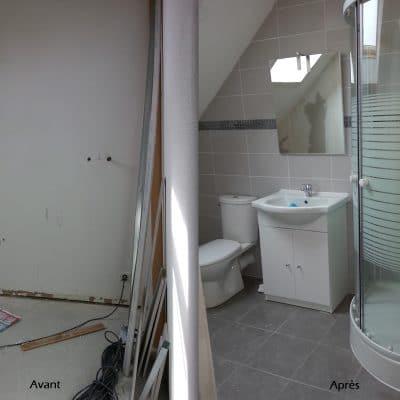 Création de salle de bain du sol au plafond